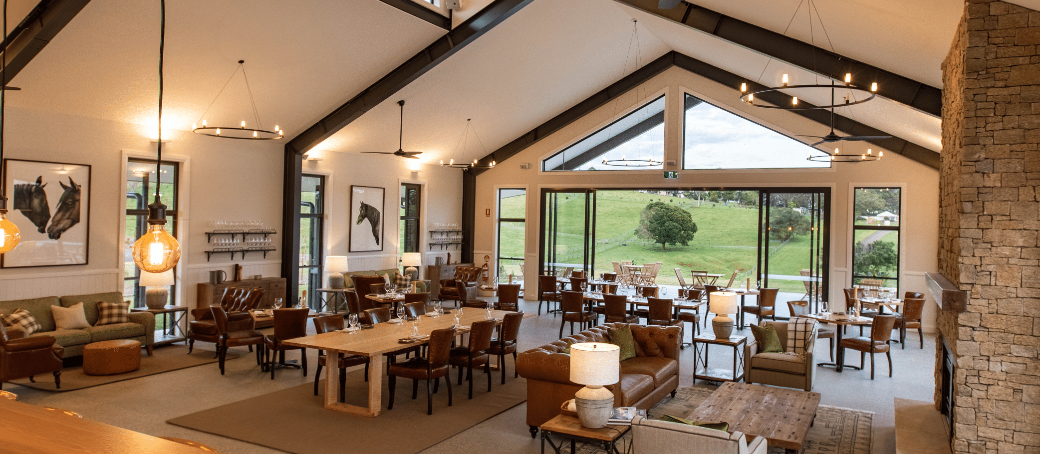 Interior of The Paddock restaurant with a modern farm house aesthetic