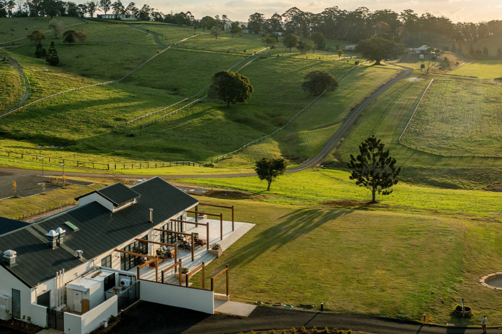 Views over Hazelwood Estate - rolling green hills and The Club House